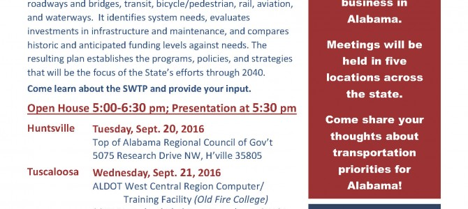 Coming Soon: ALDOT Statewide Transportation Plan